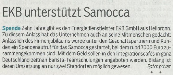 """Zeitungsartikel Schwäbische Post """"EKB unterstützt SAMOCCA"""""""